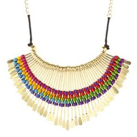 Gold Rainbow-Woven Fringe Bib Necklace by Charlotte Russe