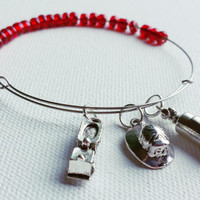 Thin Red Line Wire Bangle - Silver Adjustable Memory Bangle - Firefighter Jewelry - Firefighter Wife/Daughter/Sister/Mother