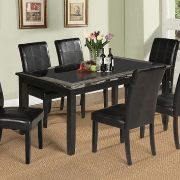 7 pc Blythe collection black finish wood and black faux marble and glass insert top dining table set