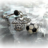 I Love Soccer Ball Belly Ring, Piercing, Athletic, Athlete, Belly button, Navel, Summer, Beach, Ready to Ship