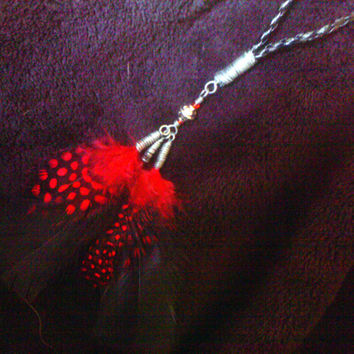 Red & Black Feather Dangle Y Necklace