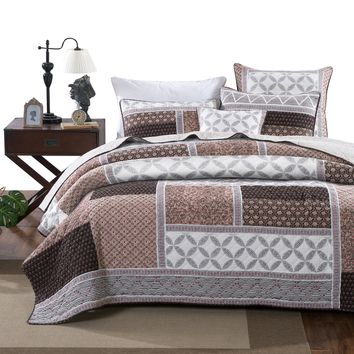 DaDa Bedding Neapolitan Roses Patchwork Cotton Geometric Quilted Bedspread Set (JHW816)