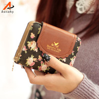 New Brand Fashion Flower Pendant Wallet Hasp Women Wallet PU Leather Coin Purse Card Holder Girl Wallet Elegant Lady Wallets 15