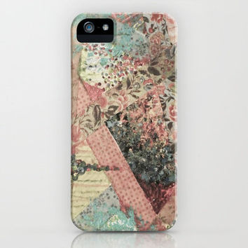 PIECES OF ME - Lovely Muted Pink Black White Floral Stripe Abstract Acrylic Fabric Collage Painting iPhone Case by EbiEmporium | Society6
