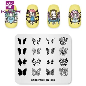 KADS FASHION 033 Overprint Butterfly design Nail stamping template print nails For nail art polish stamp stamping image plate