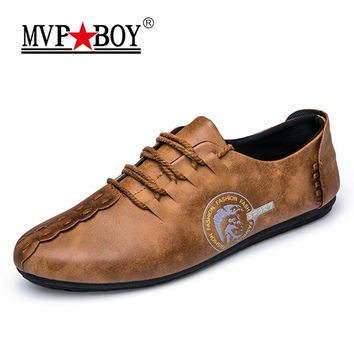 MVP BOY 2018 New Comfortable Casual Shoes Loafers Men Shoes Quality Split Leather Shoes Men Flats Hot Sale Moccasins Shoes