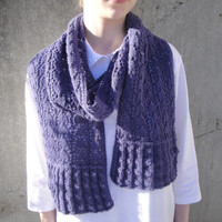 Dusty Purple Scarf, Alpaca Angora Wool, Hand Knit, Ruffle Lace Long Wrap, Women Teen Girls, Luxury Natural Fiber