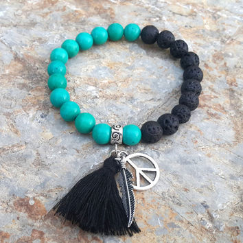 Tassel Bracelet Boho Peace Bracelet Bohemian Tassel  Lava Native American  Feather Bracelet Gemstones Stretch Bracelet Boho Turquoise Beaded