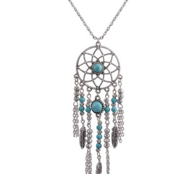 Dream catcher necklace national wind chain tassel feather turquoise items Bohemian jewelry