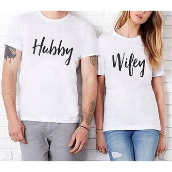 Hubby Wifey - Husband/Wife/Married - Family Matching T-shirt