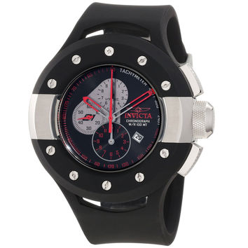 Invicta 11138 Men's S1 Rally Puppy Grey Accent Black Dial Black Rubber Strap Stainless Steel Chronograph Watch