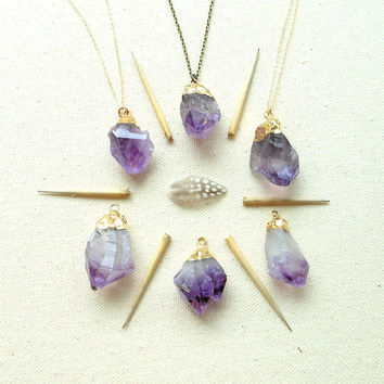 Gold dipped amethyst necklace gold filled or brass raw amethyst necklace