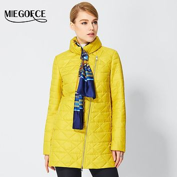 MIEGOFCE 2017 Spring Windproof Womens Parkas Thin Cotton-padded Jacket Oblique Placket Women's Quilted Coat Stand Collar New