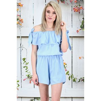 Summertime Ruffles Off Shoulder Romper {Ice Blue}