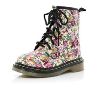 Girls pink floral chunky boots