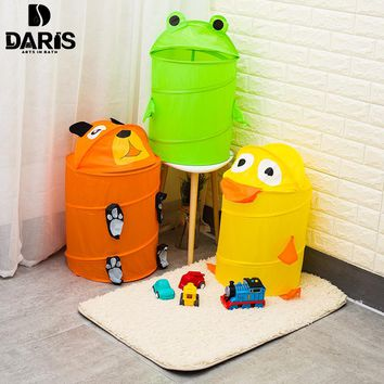 DARIS Retail Cartoon Folding Storage Baskets for Toys Mesh Fabric Laundry Toy Storage Bag Dirty Clothes Baskets Animal Shape