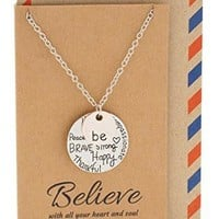 Kara Be Happy, Be Strong Engraved Necklace - Inspirational Jewelry Engraved Gift