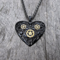 Clockpunk Victorian Necklace, Black OpenWork Heart Pendant w/Gears on Antiqued Silver Modified Box Chain