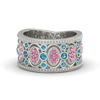 18K White Gold Ring with London Blue Topaz & Pink Tourmaline