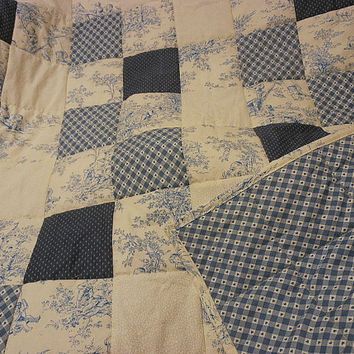 Blue Quilt, Baby Quilt, Blue Toile, Children, Hearts, Blue and White, Toile Quilt