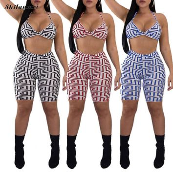 Plus Size Women Sportswear Set Two Piece Pants Female Trainning Bra Printed Sport Set Exercise Sets Yoga 3xl Running Breathable