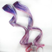 Lilac Meadow / Human Hair Extension / Pastel Lavender Purple Pink / Long Tie Dye Colored Hair