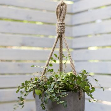 """Ely Outdoor Cement Hanging Terrarium Planter - 18"""" Tall"""