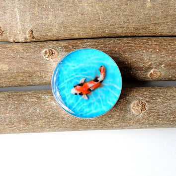 Koi Brooch, Koi Carp Fish Resin Brooch, Koi Jewelry, Resin Jewelry, Swimming Fish, Blue Orange, Diorama Jewelry, UK (027)