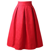 *online exclusive* high waist pleated midi skirt