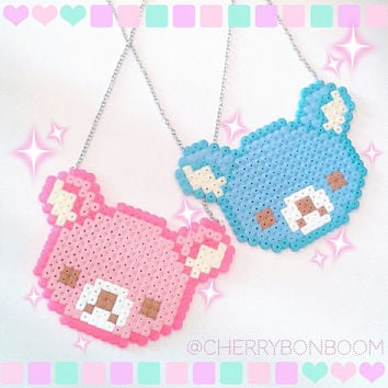 Kawaii Pixel Rilakkuma handmade necklace