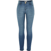 River Island Girls blue mid wash jeggings