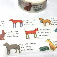 Animal drawing washi tape 5M x 2cm pet dog pet cat hare rabbit cute animal sticker tape cartoon animal comic animal decor planner gift