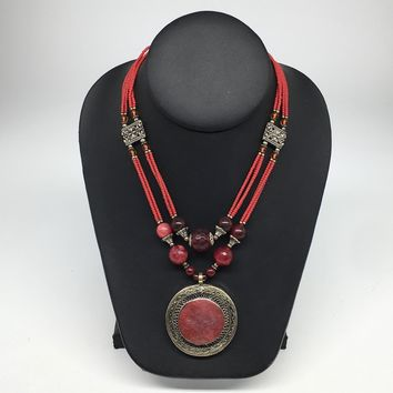 Turkmen Necklace Afghan Antique Tribal Fashion Multi Strand Beaded Necklace S136