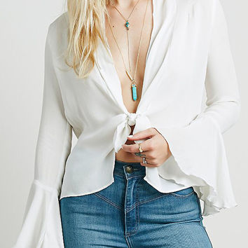 White Long Sleeve Flare Blouse