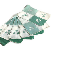 Vintage Bridge Napkins, 50's, Cotton, Green and White, Set of 6, Card Games, Cottage Chic Decor
