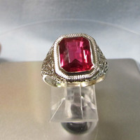 Still Big Red 14 Karat White Gold Filigree Ring with Ruby