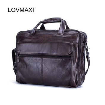 Genuine Leather Men's Briefcases for Male Business Handbags Causal Laptop Bags Messenger Bags Large Travel Bag