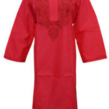 WOMEN'S TUNIC LONG KURTA RED NECK EMBROIDERED COTTON BLOUSE TOP