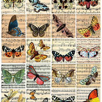 vintage butterfly sheet music art clip art digital download collage sheet 2 inch squares graphics images printables pendants pins magnets
