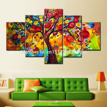 Hand Painted colorful tree oil paintings 5 piece canvas art Modern Home Decoration muiti color wall pictures for living room