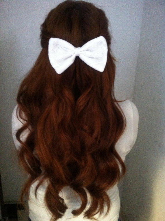 how to style a hair bow white lace bow from princessdarlene on etsy epic wishlist 7289 | full size