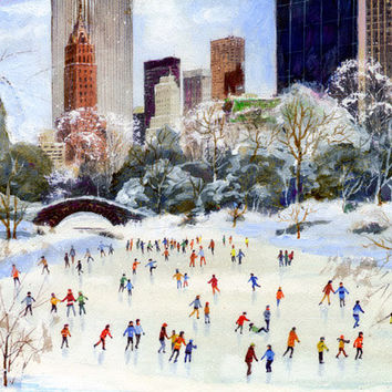 Ice Skating Central Park New York Canvas Fine Art Print