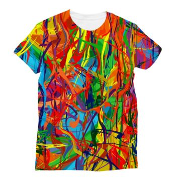 Bright Multicolored Lines Subli Sublimation T-Shirt