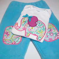 Elephant Baby Clothes, Elephant for Baby, Baby Girl Pant set,  0-3 Month Girls' Clothing, Elephant Bodysuits