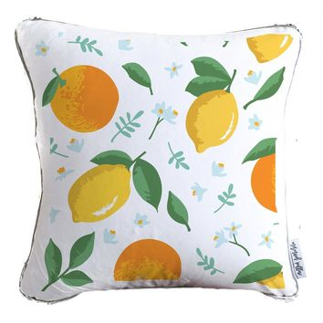 Summer Fruit & Flowers Decorative Throw Pillow w/ Silver & White Reversible Sequins   COVER ONLY (Inserts Sold Separately)