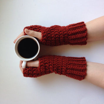 Fingerless gloves, arm warmers, wrist warmers in brick red