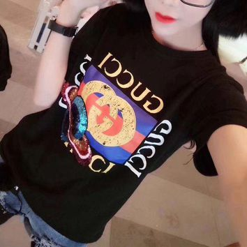 DCCK6HW Gucci' Women Fashion Letter Print Planet Sequin Embroidery Pattern Short Sleeve Casual T-shirt Top Tee