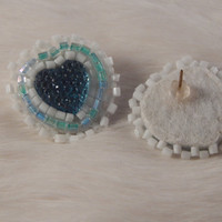 Pow Wow beadwork - Valentine's Day gift, beaded regalia earrings with size 11 delica seed beads and acrylic heart,  Native American jewelry