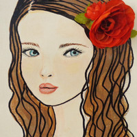 Girls with Flowers  Mixed Media Wall Art. Blue Eyes, Brown Hair, original portrait on Canvas 9X12 inches