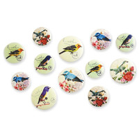 Wooden Buttons, Assorted Birds Button Embellishment,  Patterned Wood, sizes 18/20/25mm 12 per Pkg